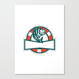 Sheepshead Fish Jumping Lifesaver Circle Retro Canvas Print