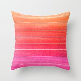 Watercolor Sunset Stripe  Throw Pillow