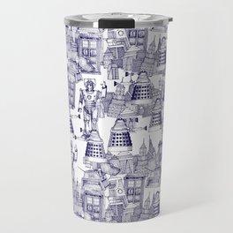 Doctor Who Toile de Jouy | 'Walking Doodle' | Blue Travel Mug