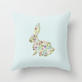 Spring Flowers Bunny on Blue Throw Pillow