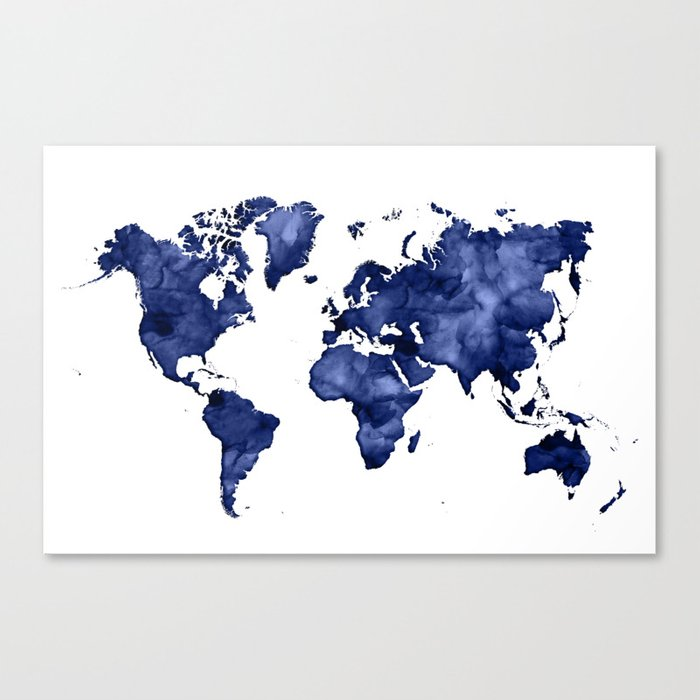 Dark navy blue watercolor world map canvas print by blursbyaishop dark navy blue watercolor world map canvas print gumiabroncs Choice Image