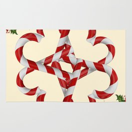 CREAMY YELLOW  RED-WHITE PINK  CHRISTMAS CANDY CANES Rug