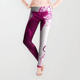 Le Chat D'Amour In Pink With Words of Love Vector Leggings