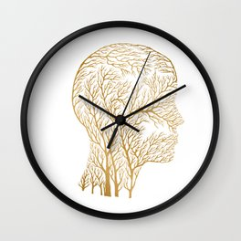 Head Profile Branches - Gold Wall Clock