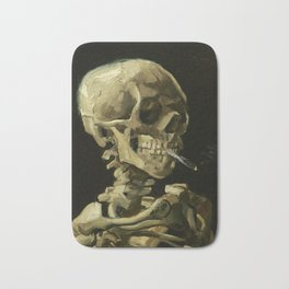 Skull of a Skeleton with Burning Cigarette by Vincent van Gogh Bath Mat