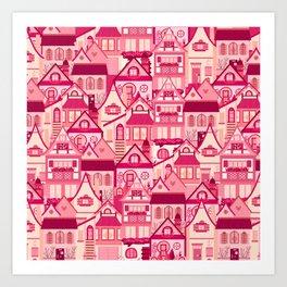 Pink Little Town Art Print