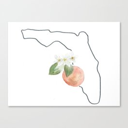 florida // watercolor orange blossom state flower map Canvas Print