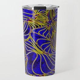 Curves in Yellow & Royal Blue Travel Mug