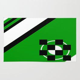 Simplicity - Green, black and white, geometric, abstract Rug