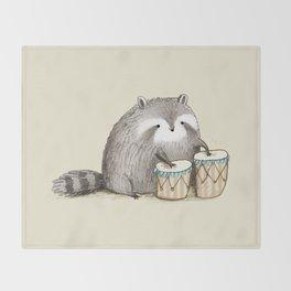 Raccoon on Bongos Throw Blanket