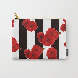 Red poppies on a black and white striped background. Carry-All Pouch