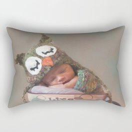 Baby With Owl Cap Rectangular Pillow