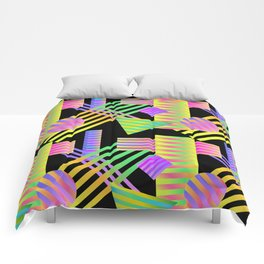 Neon Ombre 90's Striped Shapes Comforters