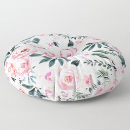 Floral Rose Watercolor Flower Pattern Floor Pillow