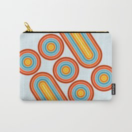 Retro Motion 2 – Orange / Yellow / Blue Abstract Stripe Pattern Carry-All Pouch