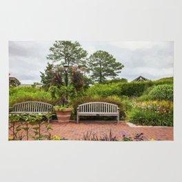 Benches in the Garden Rug