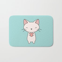 Kawaii Cute Cat With Heart Bath Mat