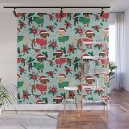 Dachshund christmas sweater poinsettia cute holiday gifts doxie dachsie dog breed Wall Mural