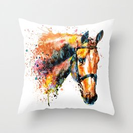 Colorful Horse Head Throw Pillow