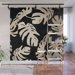Simply Palm Leaves in White Gold Sands on Midnight Black Wall Mural