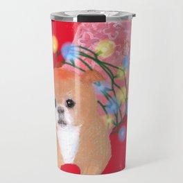Dog in Pink Flower Dress Travel Mug