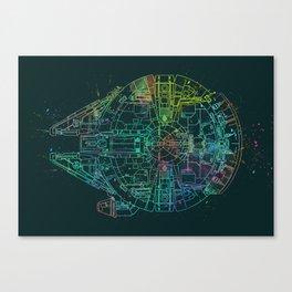 Millennium Falcon Painters Schematic Canvas Print