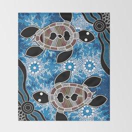 Aboriginal Art - Sea Turtles Throw Blanket