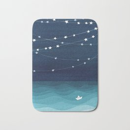 Garlands of stars, watercolor teal ocean Bath Mat