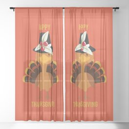 Happy Thanksgiving Sheer Curtain