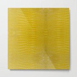 Yellow Alligator Leather Print Metal Print