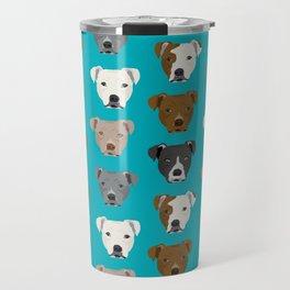 Pitbull faces dog art dog pattern pitbulls cute gifts for rescue dog owners Travel Mug