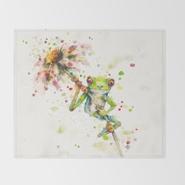 Hello There Bright Eyes (Green Tree Frog) Throw Blanket