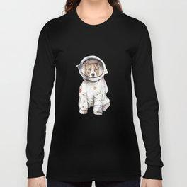 Laika Dog Watercolor Illustration Space Pup Long Sleeve T-shirt