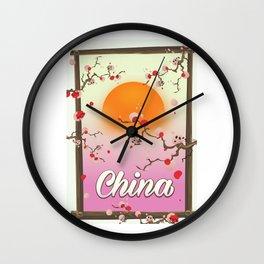 China Blossom tree sunset Wall Clock
