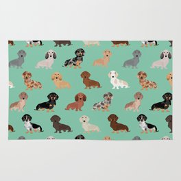 Dachshund dog breed pet pattern doxie coats dapple merle red black and tan Rug