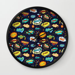 Retro Vintage Comic Book Speech Bubbles Design Wall Clock