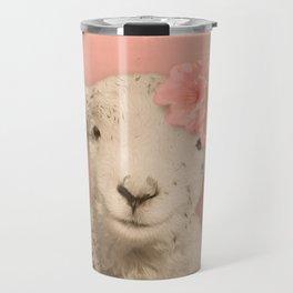 Flower Sheep Girl Portrait, Dusty Flamingo Pink Background Travel Mug