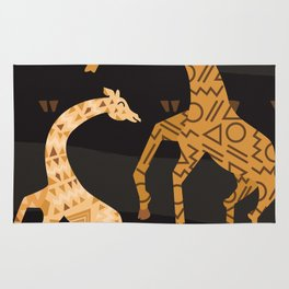 Black and Gold Giraffe Pattern Rug