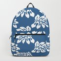 Blue White Tropical Leaf Pattern by loolyelzayat