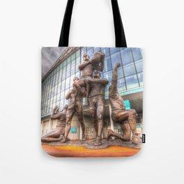 Rugby League Legends statue Wembley stadium Tote Bag