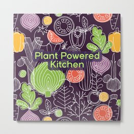 Plant Powered Kitchen Veggie Pattern Background Metal Print