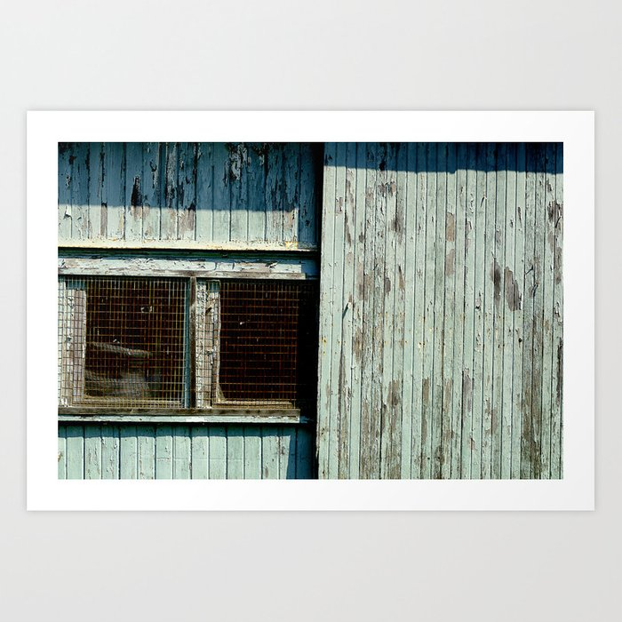 Teal Garage Door And Windows Art Print By Woodnimages Society6