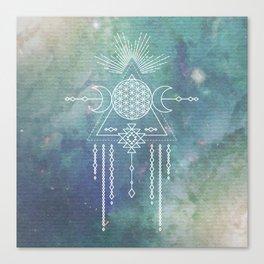 Mandala Flower of Life in Turquoise Stars Canvas Print