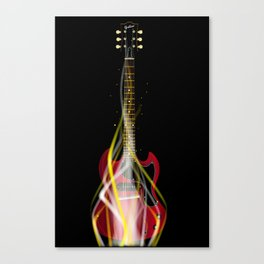 Burning Solid Electric Guitar Canvas Print