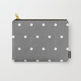 Grey With White Polka Dots Pattern Carry-All Pouch