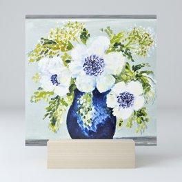 Anemones in vase Mini Art Print