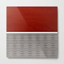 Red And Grey And White Stripe Graphic Metal Print