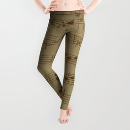 Steam punk | Vinatage music | Vintage notes Leggings