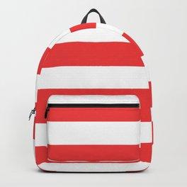 Vivaldi Red - solid color - white stripes pattern Backpack