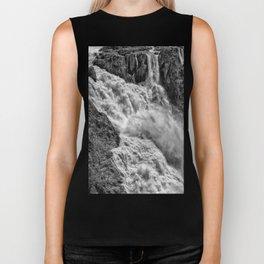 Black and White Beautiful Waterfall Biker Tank